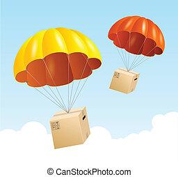 concepto, envío, aire, paracaídas, fondo., vector