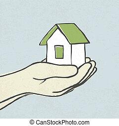 concepto, eps10, greeen, ilustración, casa, vector, hands.