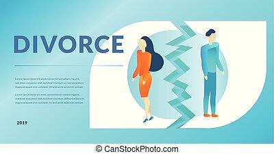 concepto, eps10, illustration., moderno, arriba, divorsment, interrupción, relationship.