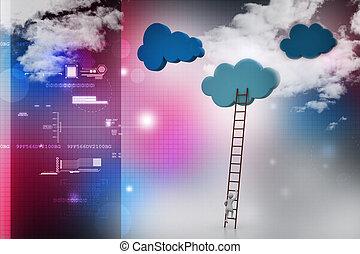 concepto, escaleras, nubes, competición