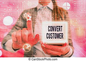 concepto, escritura, buyer., táctica, mercadotecnia, converso, estrategia, vuelta, escritura, texto, customer., significado, plomos