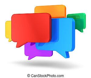 concepto, establecimiento de una red, charla, social