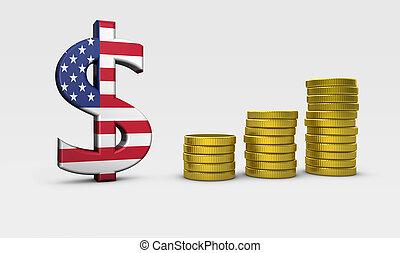 concepto, estados unidos de américa, economía