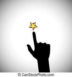 concepto, estrella, alcanzar, -, mano, vector, ambición, ...