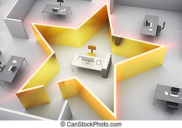 concepto, estrella, oficina
