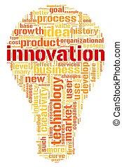 concepto, etiqueta, nube, palabras, innovación