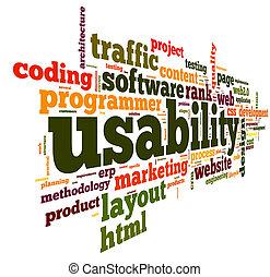 concepto, etiqueta, nube, usability