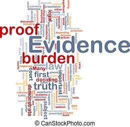 concepto, evidencia, plano de fondo, prueba