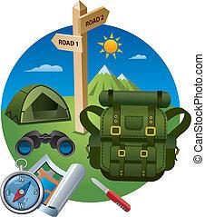 concepto, excursionismo, icono
