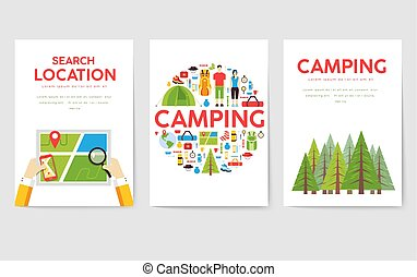 concepto, excursionismo, texto, tourl, banners., infographic...