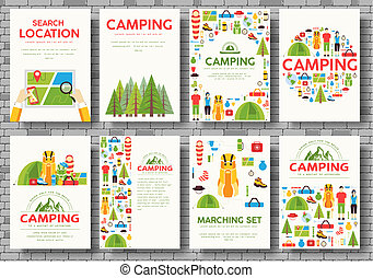 concepto, excursionismo, tourl, banners., infographic, ...