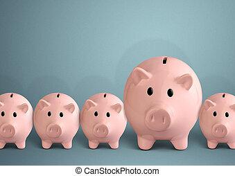 concepto, exitoso, cerdito, bancos, fila, Banco