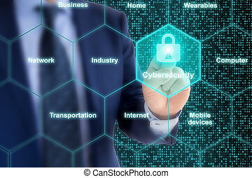 concepto, experto, cybersecurity, iot, cuadrícula, seguridad