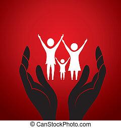 concepto, familia , mano