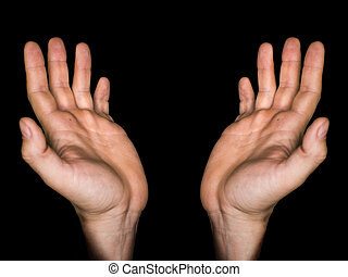 concepto, fe, llave, aislado, oración, cierre, adoración, entrelazado, fiel, dedos, fondo., negro, bajo, religión, spirituality., doblado, manos, hombre, arriba, rezando, maduro, god.