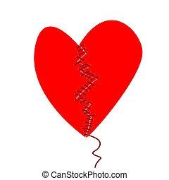 concepto, fijación, dos, sewed, mitades, corazón roto