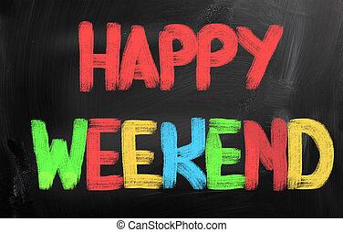 concepto, fin de semana, feliz