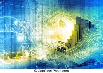 concepto, financiero, ilustración digital, crecimiento