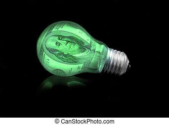 concepto, financiero, luz, -, idea, bombilla
