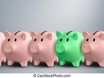 concepto, finanzas, éxito, bancos guarros, fila