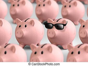 concepto, finanzas, anteojos, cerdito, Banco, fresco