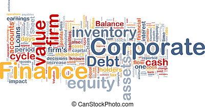 concepto, finanzas corporativas, plano de fondo