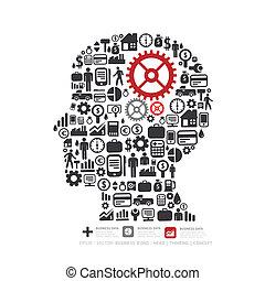 concepto, finanzas, iconos, marca, elementos, pequeño, illustration., hombre, .vector, pensar, engranaje