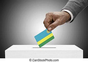 concepto, flag., -, ruanda, negro, tenencia, votación, macho