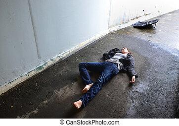 concepto, foto, -, asesinato