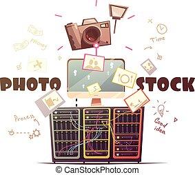concepto, foto, industria, microstock, ilustración, retro
