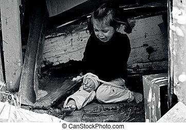 concepto, foto, -, tráfico, humano, niños