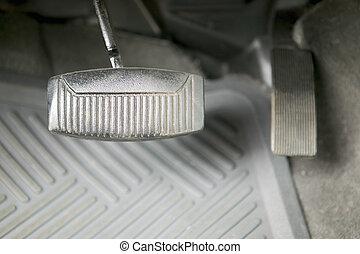 concepto, fotografía, gas, automóvil, pedal de freno