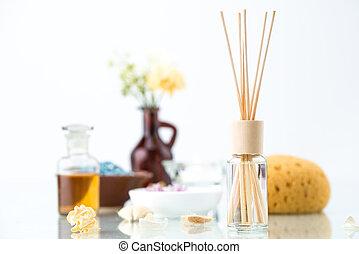 concepto, freshener, aire, aceite, aromatherapy, balneario, esencial
