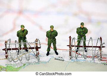concepto, frontera, inmigración, protección