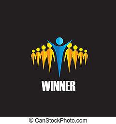 concepto, ganador, -, competición, ganando, vector