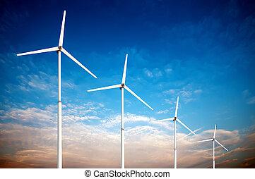 concepto, generador, turbinas, energía, -, verde, viento,...