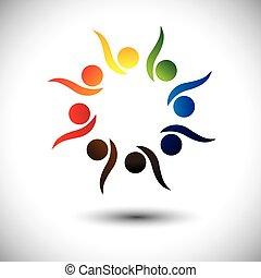 concepto, gente, animado, aprendizaje, fun., niños, y, jardín de la infancia, también, círculo, excitado, bailando, colorido, juego, gráfico, representa, escolares, gente, empleados, o, vector, teniendo