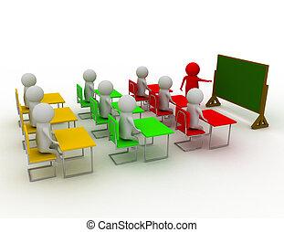 concepto, gente, blackboard., hombres, -, mano, persona, cierre, educación, indicador, learning., 3d