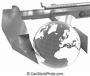 concepto, global, calibrador, medidas, vernier, earth., 3d