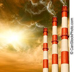 concepto,  global, plantas, potencia,  warming