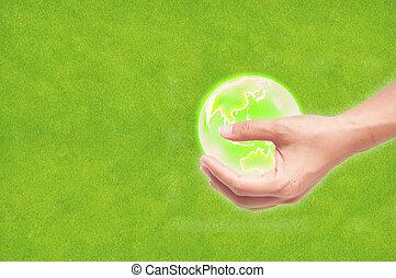 concepto, globo, mano, Plano de fondo, ecología, tierra, verde, pasto o césped