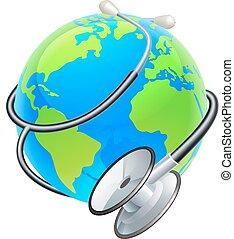 concepto, globo, salud, mundo, estetoscopio, día, tierra