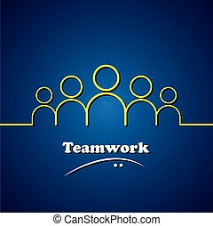 concepto, gráfico, y, equipo, trabajo en equipo, vector, ...