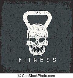 concepto, grunge, cráneo, forma, kettlebell, condición ...