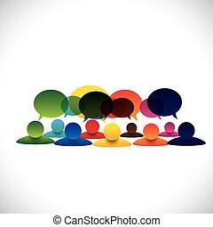 concepto, grupo, las personas hablar, vector, empleado, discusiones, o