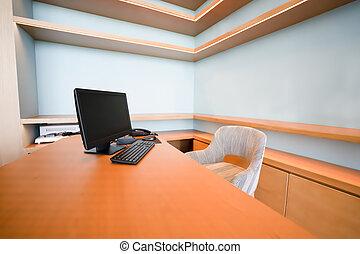 concepto, habitación, oficina, trabajando, interior, home.