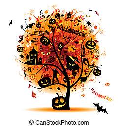 concepto, halloween, árbol, diseño, noche, su, fiesta