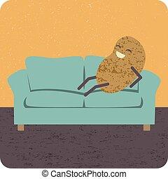 concepto, haragán del sofá
