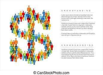 concepto, hecho, dólar, iconos, simple, crowdsourcing, gente