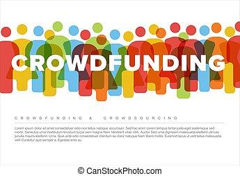 concepto, hecho, iconos, simple, crowdsourcing, gente